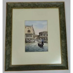 Framed and Matted Watercolor Of Venice Italy